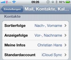 Kontakte am iPhone