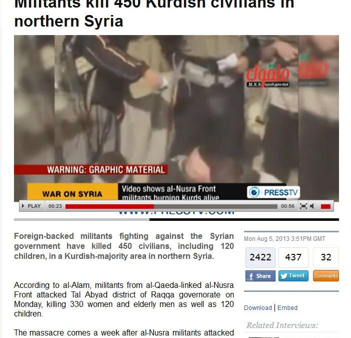 Massacres en Syrie : 450 civils sacrifiés sur l'autel démocrasseux !