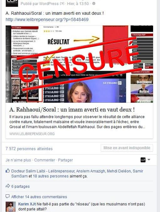 Grosal perd les pédales et s'affole : ma page facebook censurée