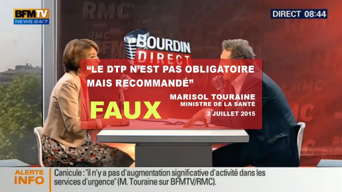 Ahurissant : «Le DTP n'est pas obligatoire mais recommandé» dixit Marisol Touraine !