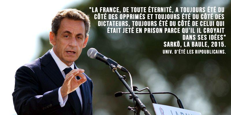 Le lapsus de Sarkozy : «la France a toujours été du côté des dictateurs»