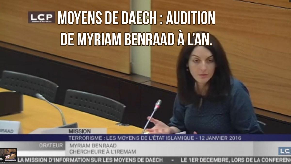 Moyens de Daech : les limites de l'audition de Myriam Benraad à l'AN