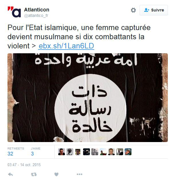 Atlanticon : Daech considère qu'une femme capturée devient musulmane si dix combattants la violent !