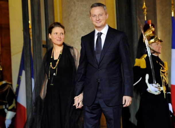 Agriculture minister Bruno Le Maire and his wife Pauline Le Maire arrive at the Elysee Palace arrives with his wife to take part in an official dinner with president Nicolas Sarkozy and his South African counterpart Jacob Zuma on March 2, 2011 in Paris. France hosts South African President Jacob Zuma, for a two-day state visit, with all the pomp due the leader of an emerging regional power and a key player in Paris's plan to use its G20 presidency to reform world finance. AFP PHOTO LIONEL BONAVENTURE