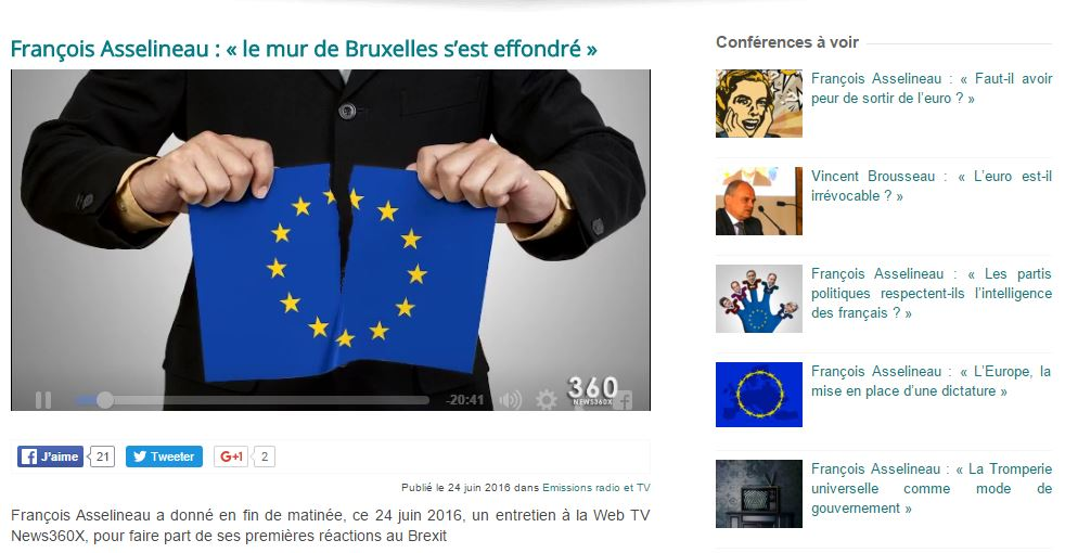 François Asselineau sur le Brexit : « le mur de Bruxelles s'est effondré » !