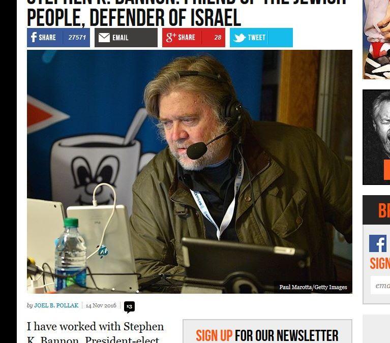 Le créateur du site pro-Trump Breibart confirme son amour d'israhell !