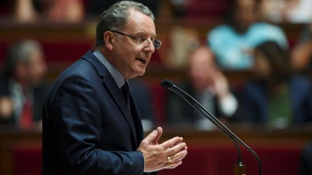 La Republique En Marche (REM) party's group president at the French national assembly, Richard Ferrand delivers a speech following the French Prime Minister's address of his general policy speech before the National Assembly on July 4, 2017 in Paris. / AFP PHOTO / CHRISTOPHE ARCHAMBAULT