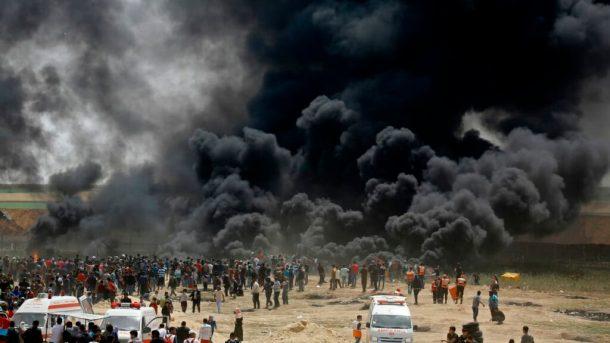 gaza-manifestation-israel-pneus-brules-fumee