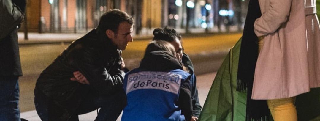 Propaganda : l'Élysée diffuse une image de Macron en maraude auprès des SDF