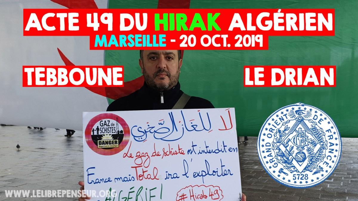 Hirak 49 à Marseille : intervention de M. Salim Laïbi concernant l'actualité (Gaz schiste, visite Le Drian…)