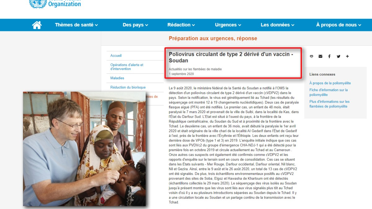 L'OMS admet que le vaccin financé par Bill Gates est à l'origine d'une grave épidémie de polio en Afrique !