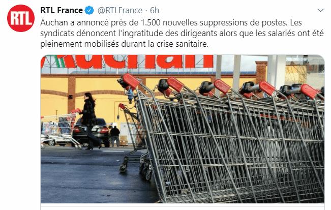 Auchan licencie 1500 personnes !