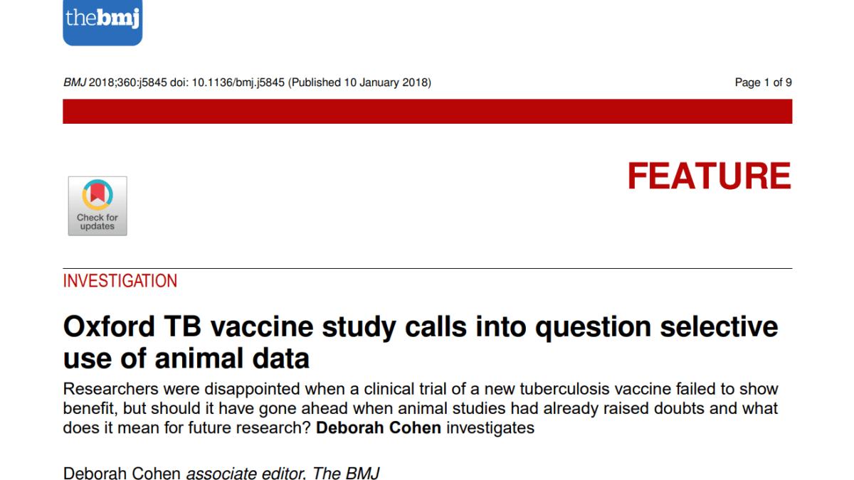 Quand Oxford a manipulé les résultats de son vaccin contre la tuberculose !