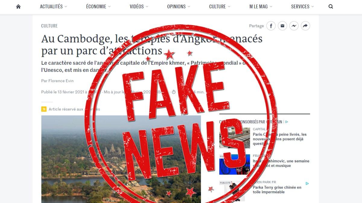 Le Cambodge accuse le journal le Monde de diffuser une fake news !