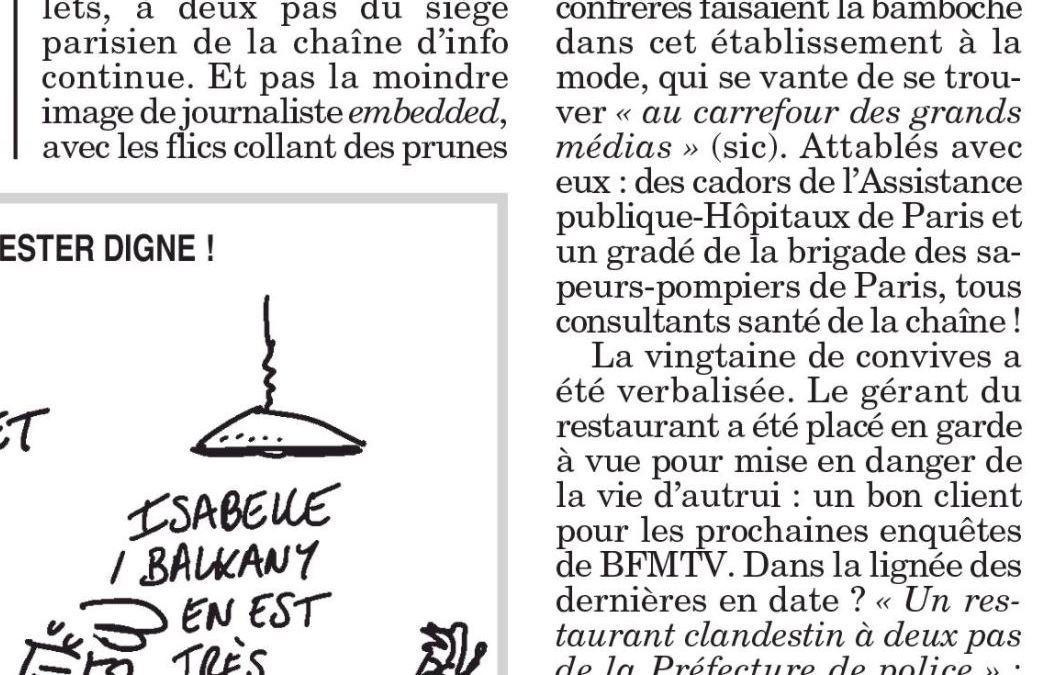Coronacircus : des journalistes de BFMTV et des consultants santé de l'AP-HP se font verbaliser dans un restaurant clandestin !