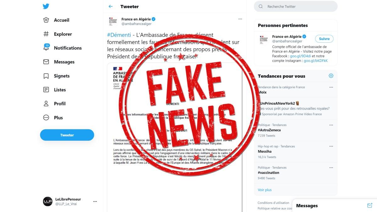 L'ambassadeur de France à Alger diffuseur de fake news !