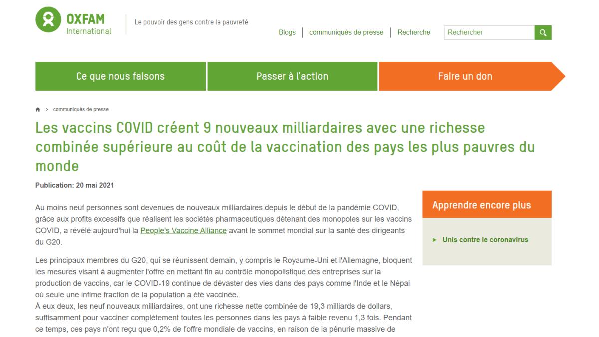 Covidiots : selon Oxfam, les vaccins ont fait 9 nouveaux milliardaires