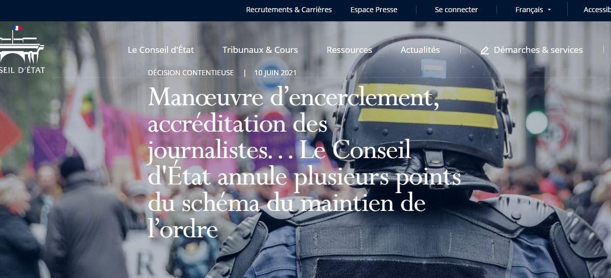 Le Conseil d'État annule plusieurs points du schéma du maintien de l'ordre