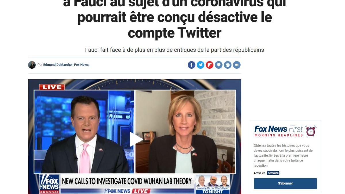 Un scientifique qui a envoyé un courriel à Fauci au sujet d'un coronavirus qui pourrait être conçu désactive son compte Twitter