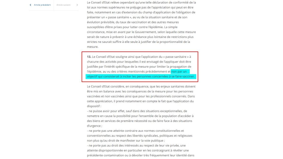 « Passe sanitaire » : le Conseil d'État insulte le peuple français !