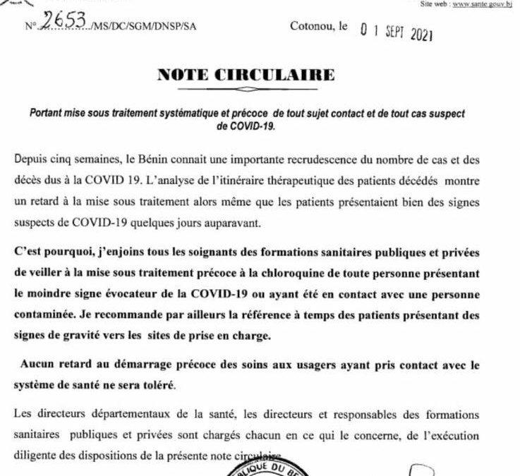 Au Bénin il est demandé aux soignants de traiter précocement le covid-19