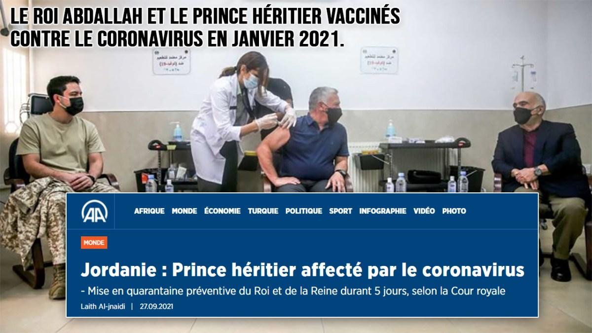 Jordanie : le prince héritier affecté par le coronavirus malgré sa vaccination !