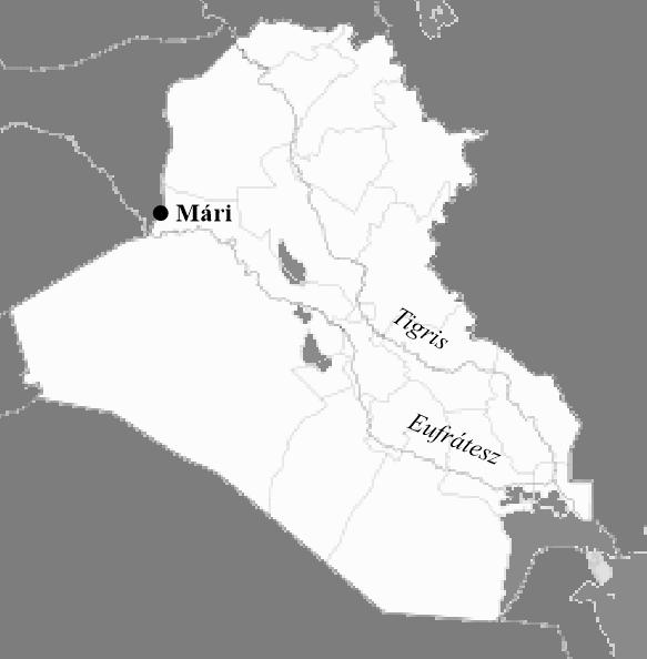 Az ősi Mári elhelyezkedése a mai Irak térképén
