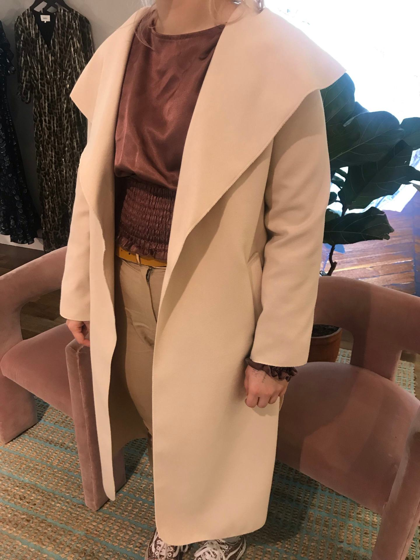 Stone Waterfall Duster Belted Long Coat