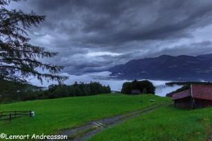 Utsikt från Bergasthaus Gemsli, Sevelen, Schweiz