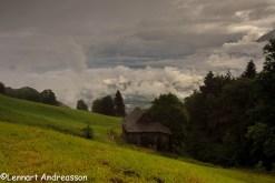 Utsikt från Berggasthaus Gemsli, Sevelen Schweiz
