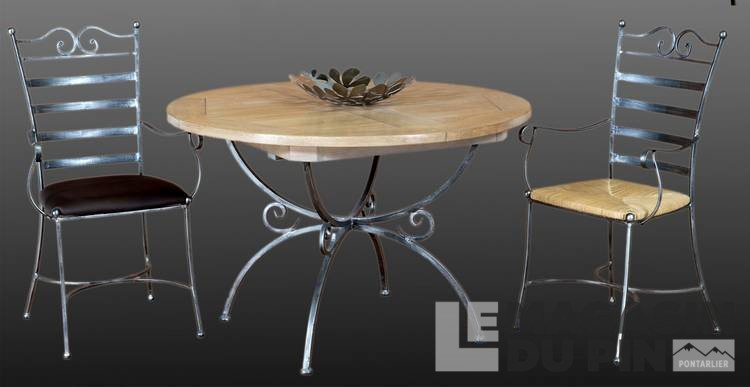 table ronde fer forge plateau chene