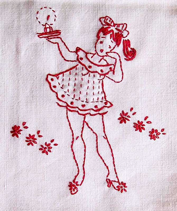 broderie petite fille rouge