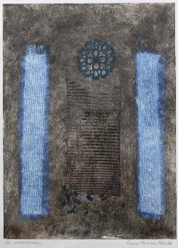 Collagraphy, paper, ink, tatting, private collection