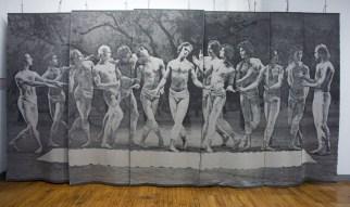 Tissage Jacquard, Coton, laine et lin, Collection permanente Place des Arts, Montréal
