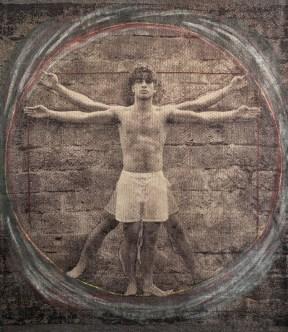 D'après Da Vinci, L'homme de Vétruve, 2016, 129 x 105 cm