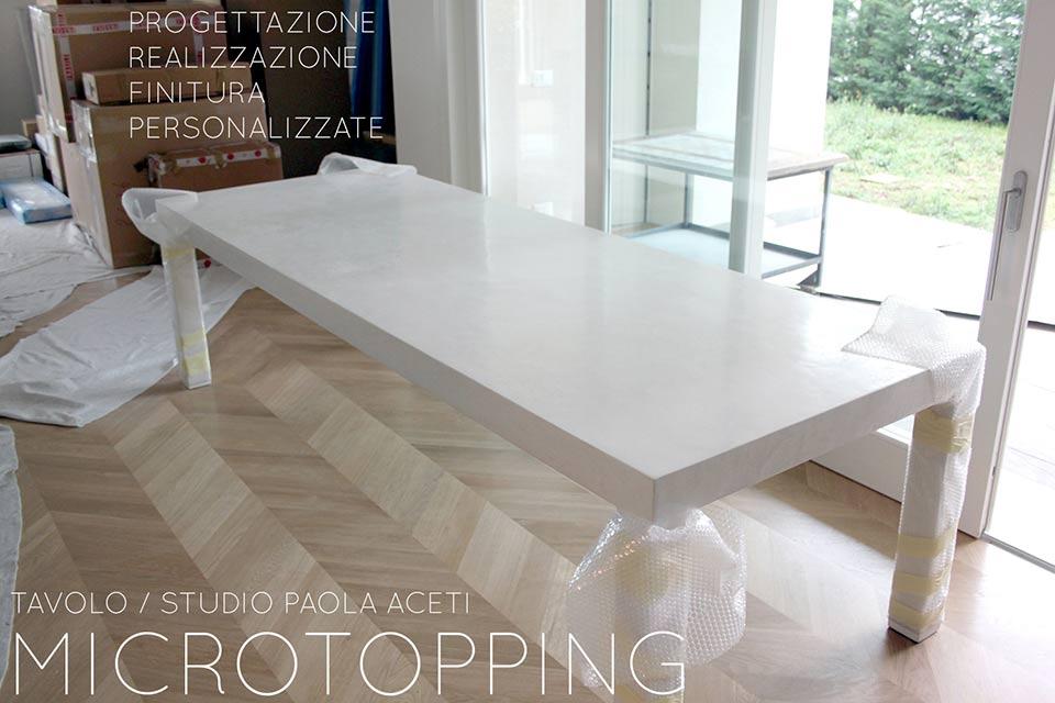 Tavolo in cemento per sala da pranzo  Microtopping
