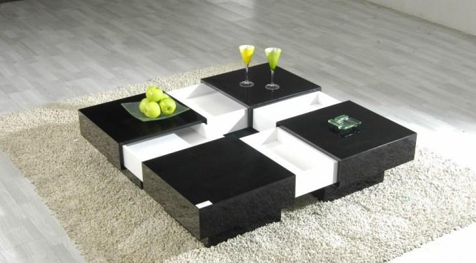 meja tamu minimalis putih hitam