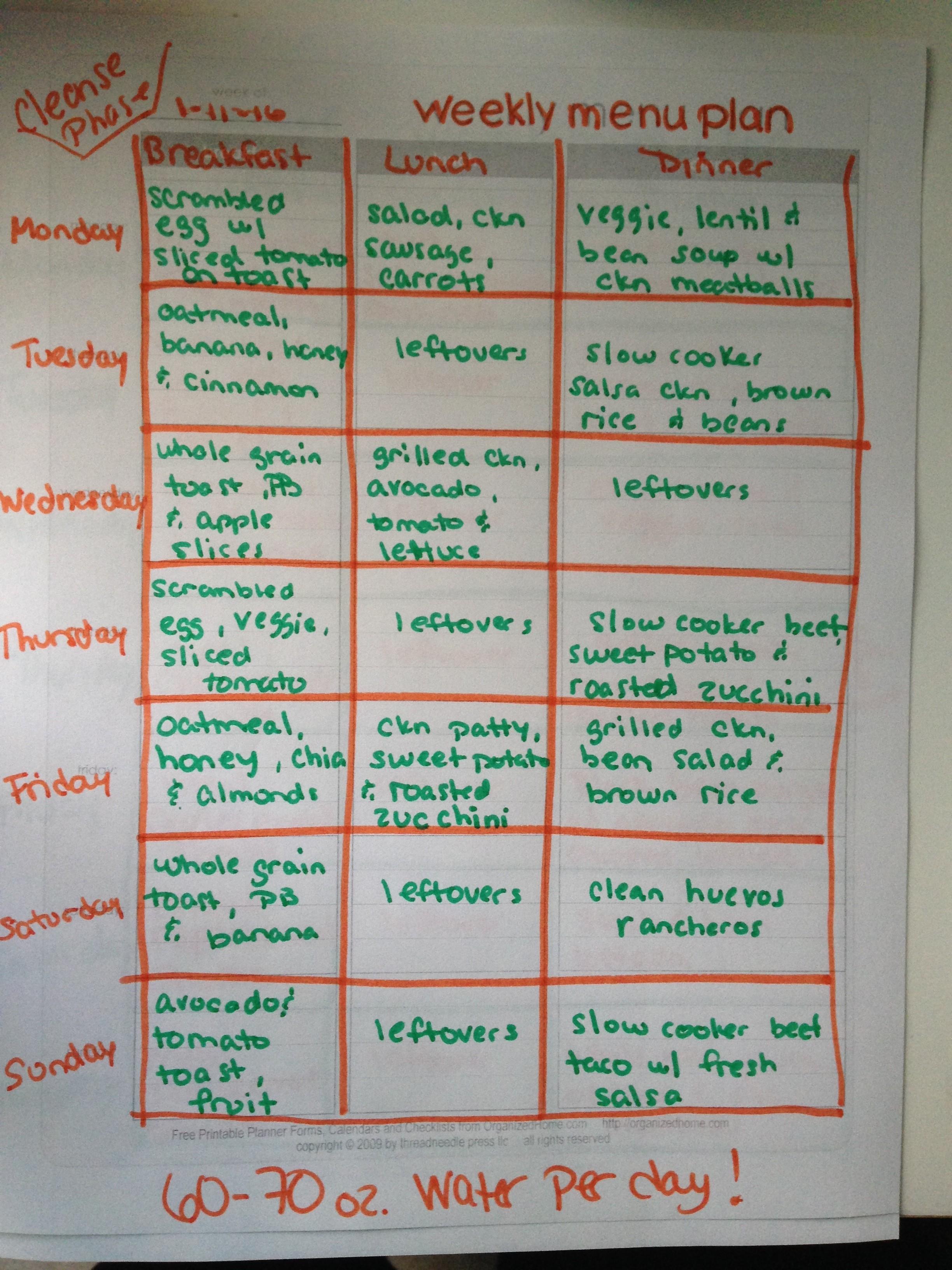 Two Week Clean Eating Meal Plan