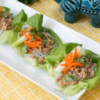 Asian Chicken & Rice Noodle Lettuce Wraps