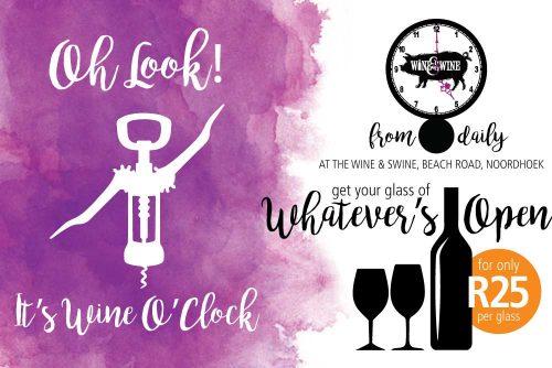 Wine & Swine Facebook Wone-O-Clock ad