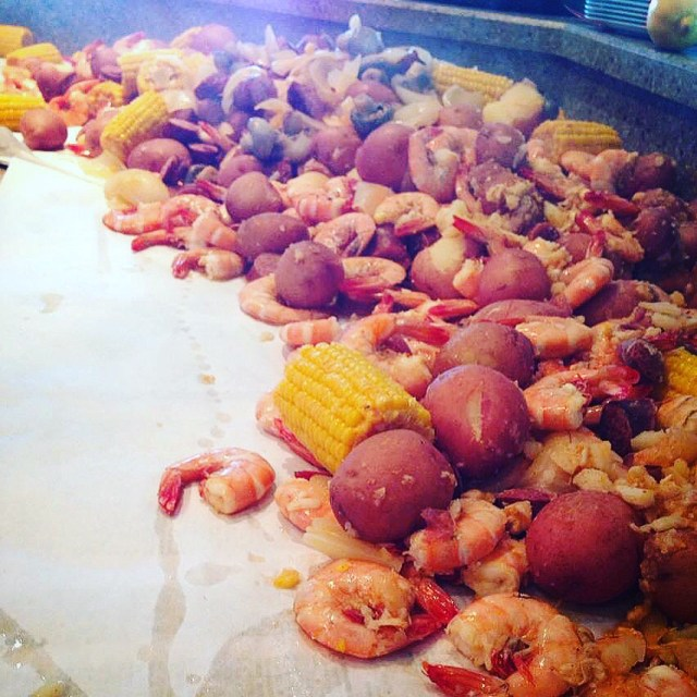 Shrimp, corn, potatoes, sausage