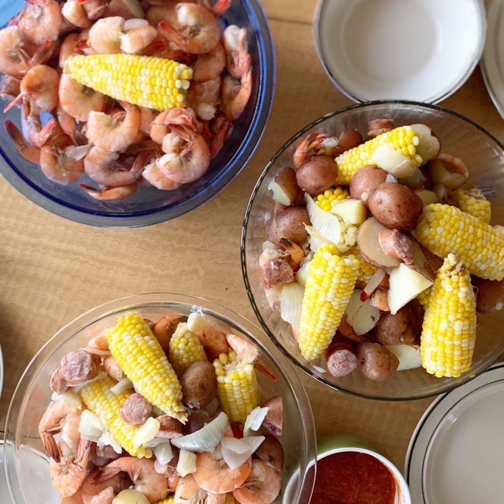 Shrimp boil at home