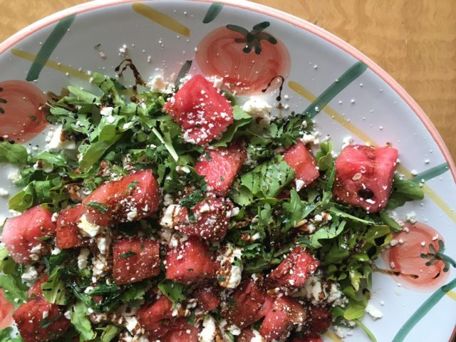 Watermelon Arugula Salad with Balsamic Syrup