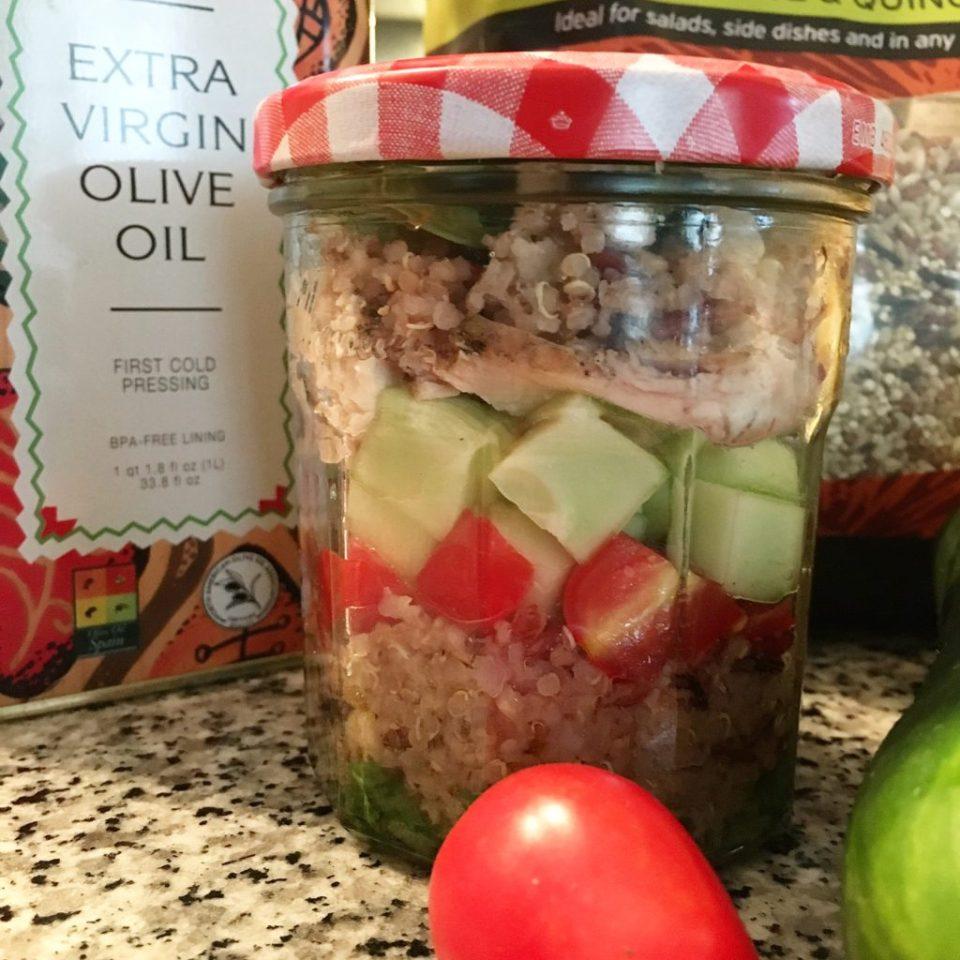 Grilled Chicken Grain Salad in a Jar