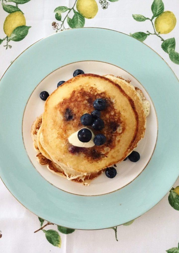Sunday Family Breakfast: Lemon-Blueberry Ricotta Pancakes with Blueberry Syrup