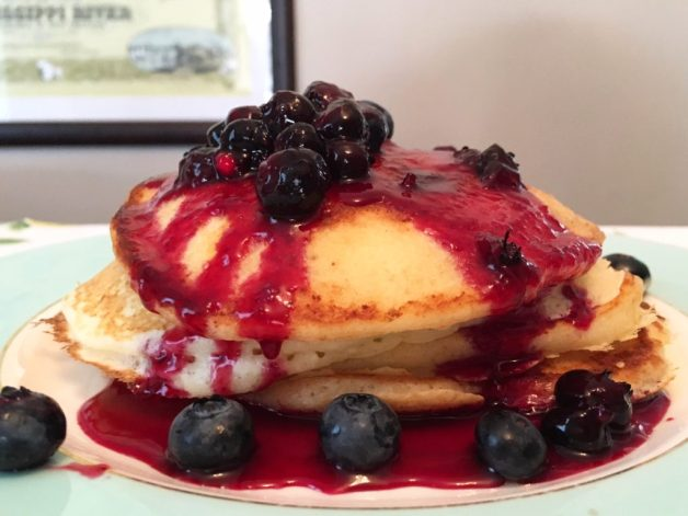 Lemon Blueberry Ricotta Pancakes with Blueberry Sauce