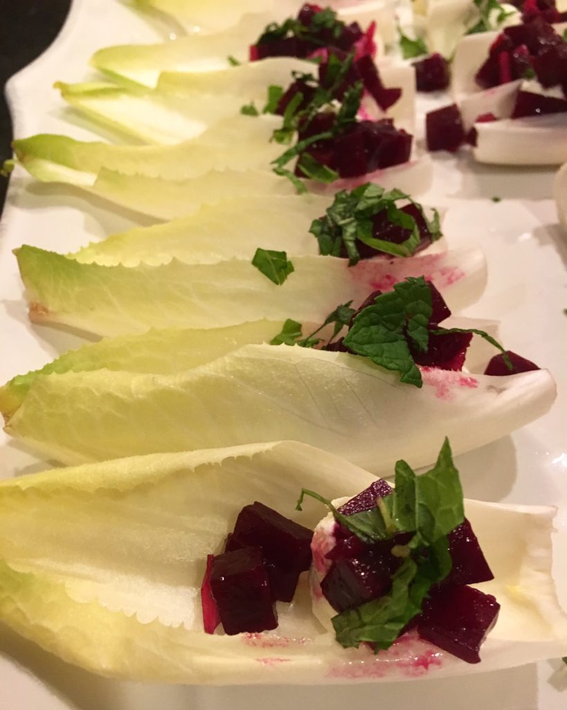 Marinated Beets and Goat Cheese Mousse on Endive