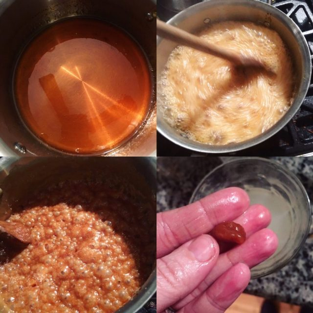 Stages of caramel making: sugar syrup ready, mixing in cream, firm ball stage, bubbly caramel