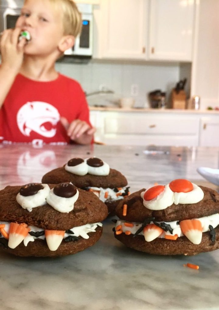 Double Chocolate Monster Cookie Sandwiches