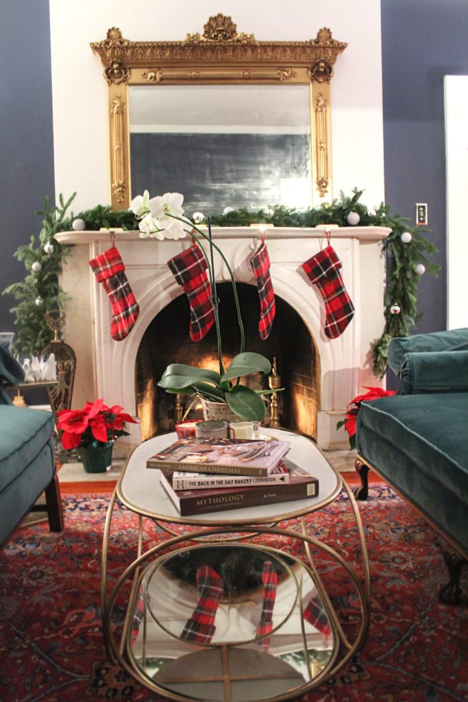 christmas stockings hung by a fire